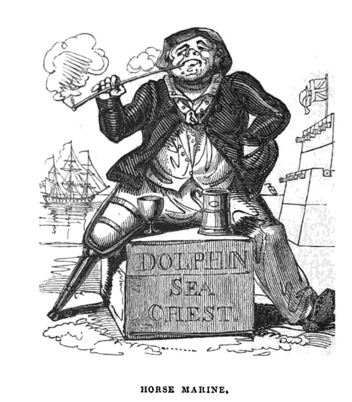 Dette bildet mangler alt-tekst; dets filnavn er w.h.-brooke-The-humorist-Harrison-1832-horse-marine.png